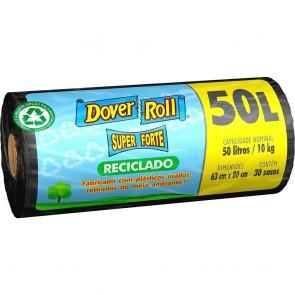 Saco p/ Lixo Super Forte RECICLADO PRETO Dover Roll AZUL c/50L c/30uni
