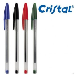 Caneta Bic Cristal - Azul, Preta, Vermelha e Verde
