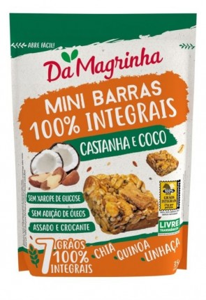 Da Magrinha Amazonia Granó Quadradinhos Castanha e Coco 35g