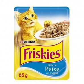 Alimento Para Gatos Friskies Purina Sachê Sabor Filés de Peixe 85g