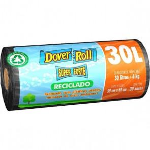 Saco p/ Lixo Super Forte RECICLADO PRETO Dover Roll AZUL c/30L c/30uni