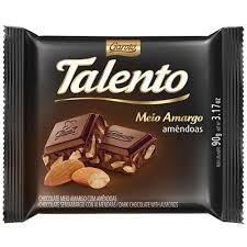 Chocolate em Barra Talento Meio Amargo Amêndoas 90g